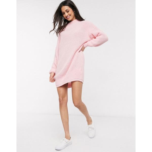 デイジーストリート レディース ニット&セーター アウター Daisy Street oversized sweater dress with high neck Light pink