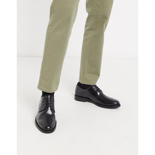 エイソス メンズ スニーカー シューズ ASOS DESIGN derby shoes in black leather Black