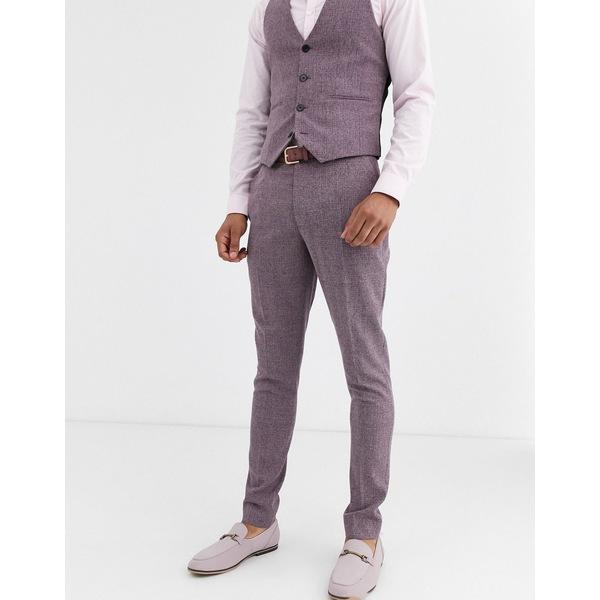 エイソス メンズ カジュアルパンツ ボトムス ASOS DESIGN wedding super skinny suit pants in crosshatch in wine twist Burgundy