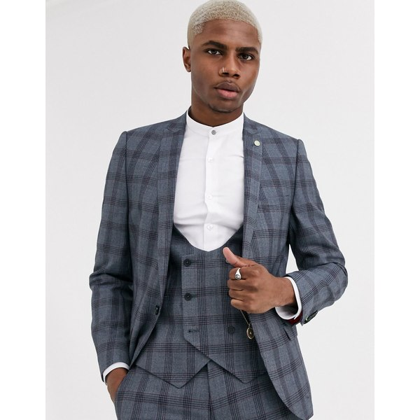 ツイステッドテイラー メンズ ジャケット&ブルゾン アウター Twisted Tailor super skinny wedding suit jacket in blue check Blue