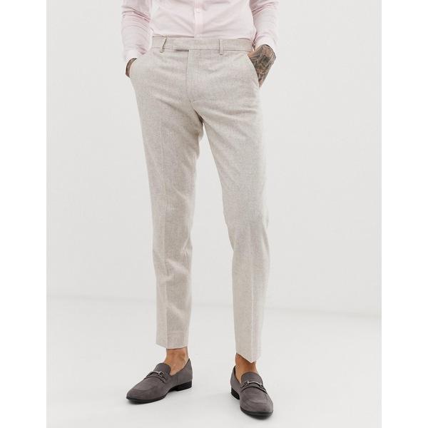 ハリー・ブラウン メンズ カジュアルパンツ ボトムス Harry Brown wedding wool blend slim fit summer tweed suit pants Cream