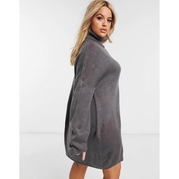 ミスガイデッド レディース ニット&セーター アウター Missguided Plus turtleneck sweater dress in gray Gray