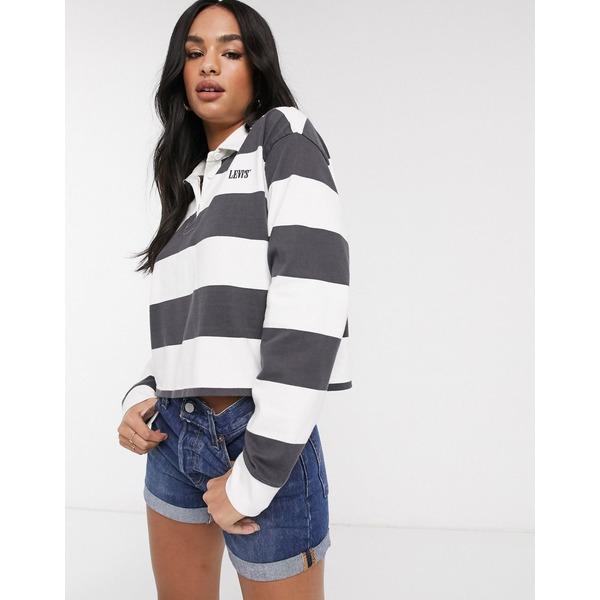 リーバイス レディース シャツ トップス Levi's rugby shirt in gray stripe Forged iron