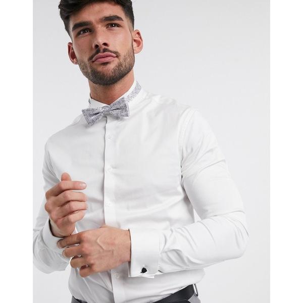 エイソス メンズ シャツ トップス ASOS DESIGN skinny fit sateen shirt with wing collar in white White