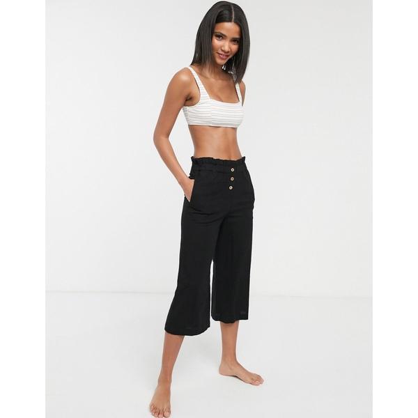 アクセサライズ レディース カジュアルパンツ ボトムス Accessorize beach pants with button detail in black Black
