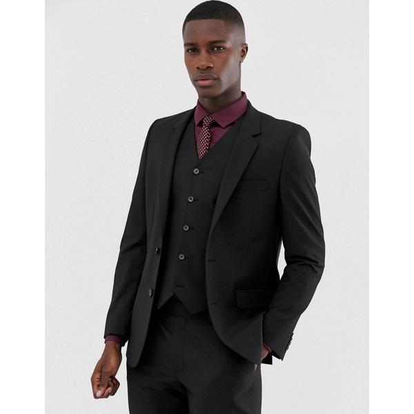 エイソス メンズ ジャケット&ブルゾン アウター ASOS DESIGN slim suit jacket in black Black