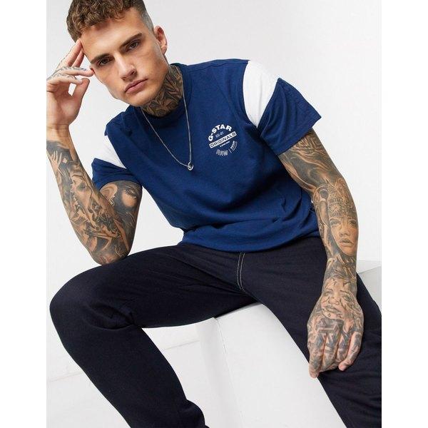 ジースター メンズ Tシャツ トップス G-Star Originals circle logo t-shirt with sport panel in blue Blue