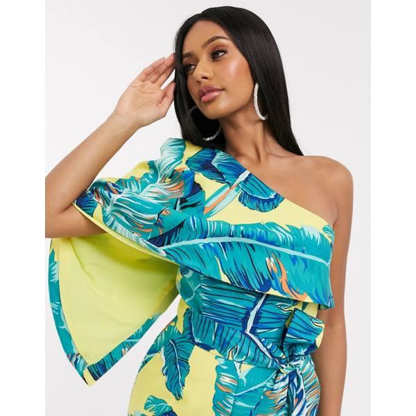 ラビッシュアリス レディース ワンピース トップス Lavish Alice one shoulder drape romper in tropical print Yellow palm print