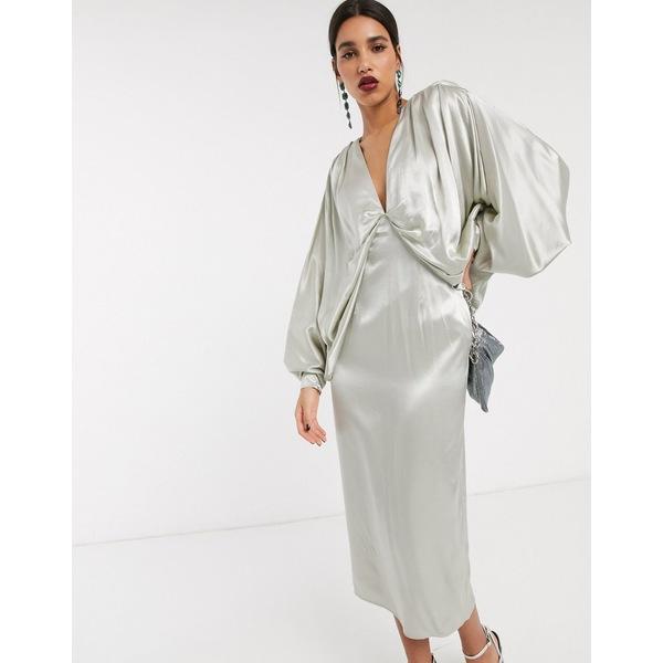 エイソス レディース ワンピース トップス ASOS EDITION extreme kimono sleeve midi dress Pale pistachio