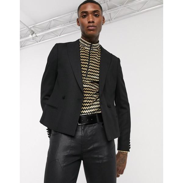 エイソス メンズ ジャケット&ブルゾン アウター ASOS EDITION cropped blazer in black Black