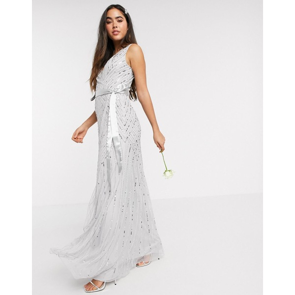 アメリアローズ レディース ワンピース トップス Amelia Rose Bridesmaid embellished wrap maxi dress in silver Silver