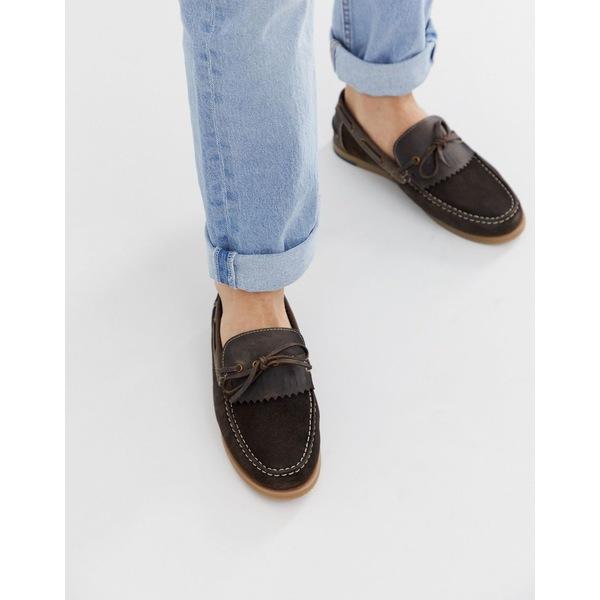 シルバーストリート メンズ スニーカー シューズ Silver Street wide fit fringe boat shoe in brown Black