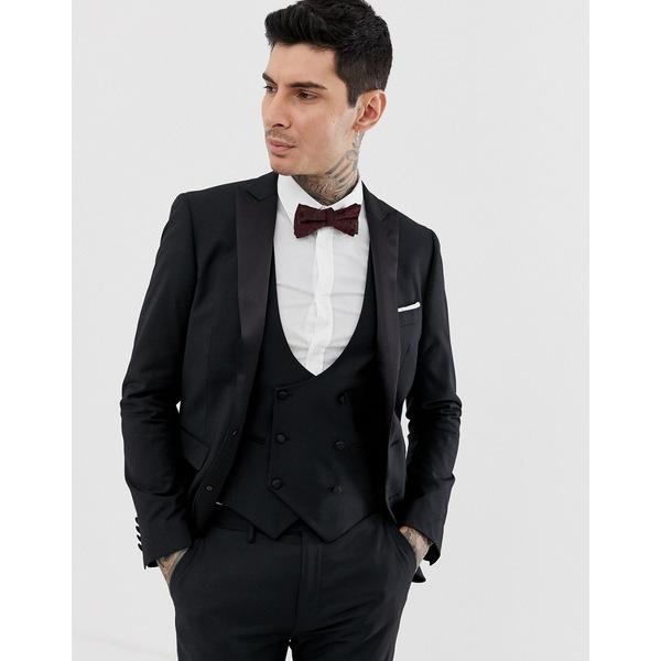 デヴィルズアドボケート メンズ ジャケット&ブルゾン アウター Devils Advocate skinny fit tuxedo suit jacket Black