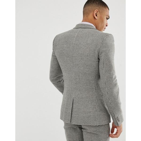エイソス メンズ ジャケット&ブルゾン アウター ASOS DESIGN wedding super skinny suit jacket in gray houndstooth Gray