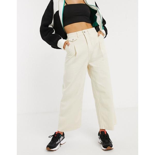 モンキ レディース カジュアルパンツ ボトムス Monki Nani organic cotton wide leg pants in off white White