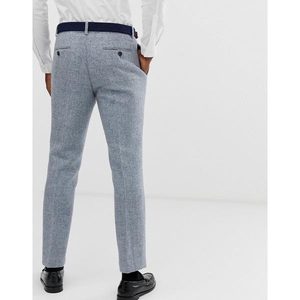 エイソス メンズ カジュアルパンツ ボトムス ASOS DESIGN slim suit pants in 100% wool Harris Tweed in gray Gray