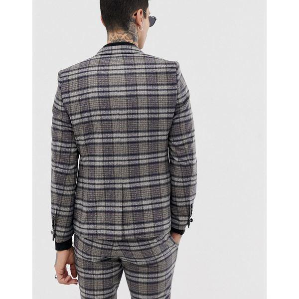 ツイステッドテイラー メンズ ジャケット&ブルゾン アウター Twisted Tailor super skinny suit jacket in speckled plaid Gray