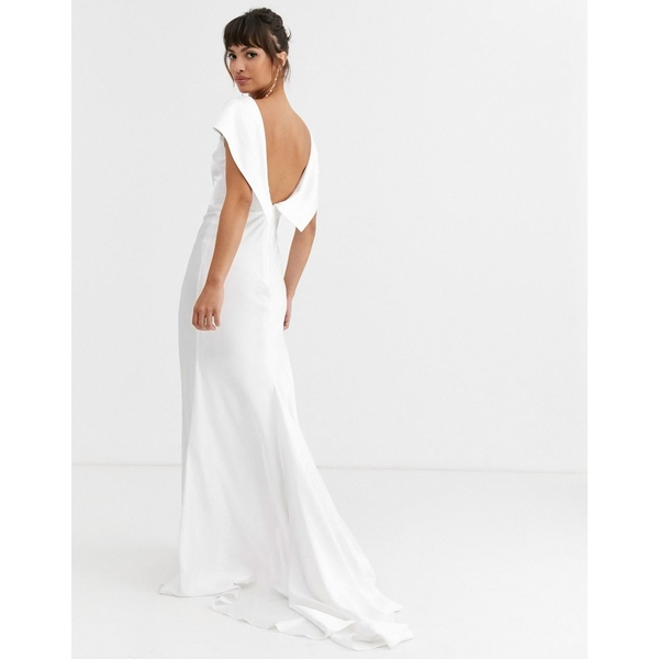 エイソス レディース ワンピース トップス ASOS EDITION off shoulder maxi wedding dress with drape back detail Ivory