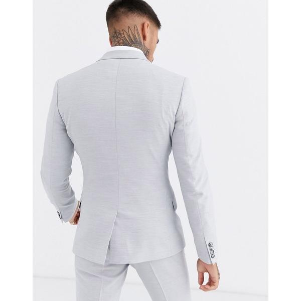 エイソス メンズ 本日限定 高品質 アウター ジャケット ブルゾン Ice gray 全商品無料サイズ交換 ASOS DESIGN in super wedding skinny jacket micro suit texture ice