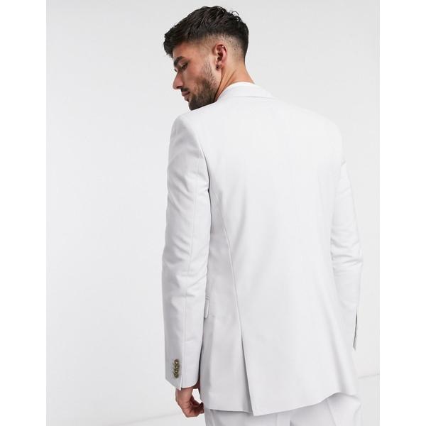 エイソス メンズ ジャケット&ブルゾン アウター ASOS DESIGN wedding slim suit jacket in light gray Gray