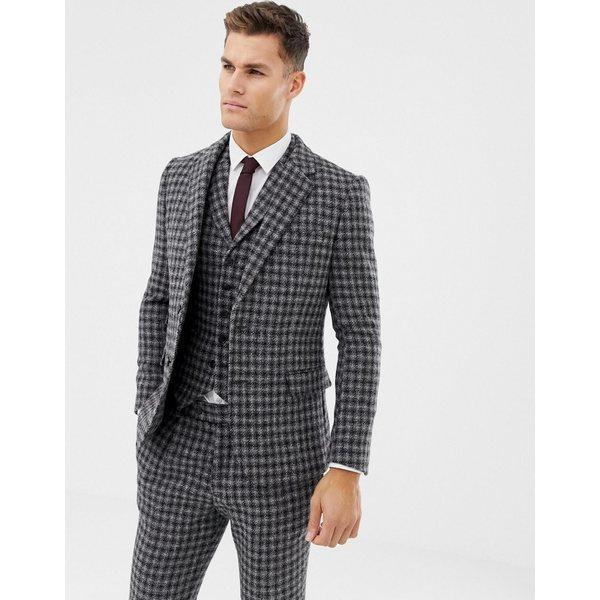 エイソス メンズ ジャケット&ブルゾン アウター ASOS DESIGN slim suit jacket in 100% wool Harris Tweed in monochrome Black