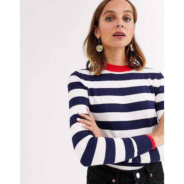 ジアーフラウド レディース ニット&セーター アウター Gianni Feraud striped knit sweater Navy/ cream/ red