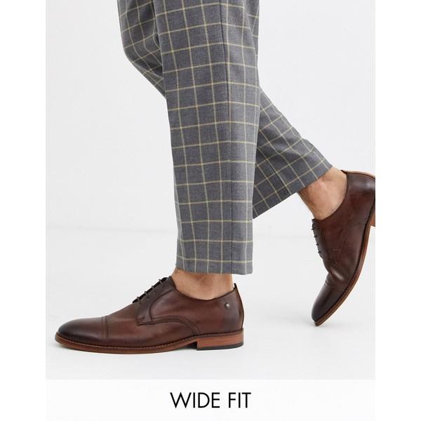 ベースロンドン メンズ スニーカー シューズ Base London Wide Fit Trailer toe cap shoes in washed brown Brown