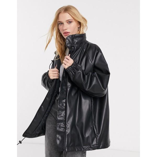 ウィークデイ レディース ジャケット&ブルゾン アウター Weekday Briana faux leather bomber in black Black