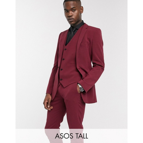 エイソス メンズ ジャケット&ブルゾン アウター ASOS DESIGN Tall super skinny suit jacket in burgundy Burgundy