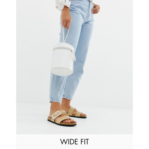 エイソス レディース サンダル シューズ ASOS DESIGN Wide Fit Fool For You sliders Natural croc