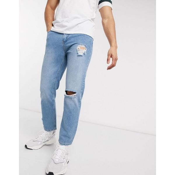 レリジョン メンズ デニムパンツ ボトムス Religion Kick cropped fit jeans with knee rip in blue fade Mid wash blue