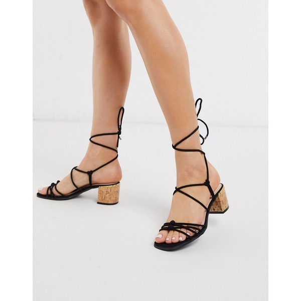 キューピッド レディース サンダル シューズ Qupid strappy tie leg kitten heel sandals Black