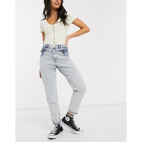 ミスセルフフリッジ レディース デニムパンツ ボトムス Miss Selfridge mom jeans with frill pocket in light wash Light blue