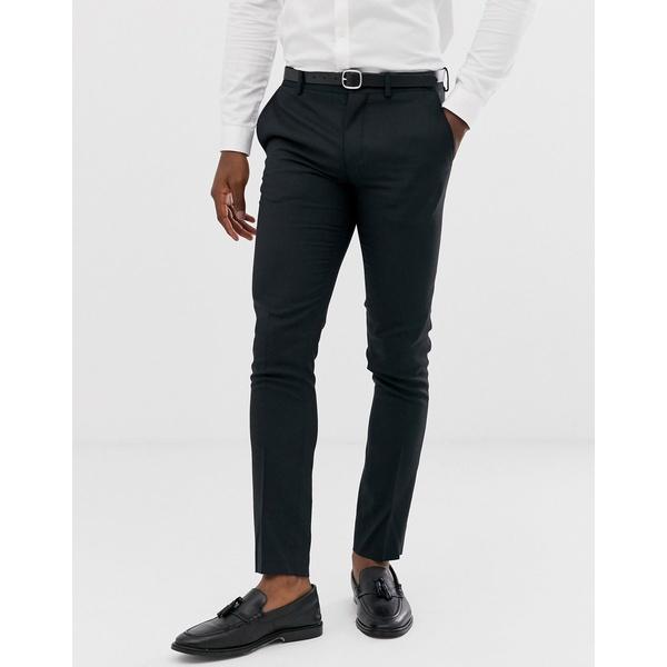 ジャック アンド ジョーンズ メンズ カジュアルパンツ ボトムス Jack & Jones Premium super slim fit stretch suit pants in black Black