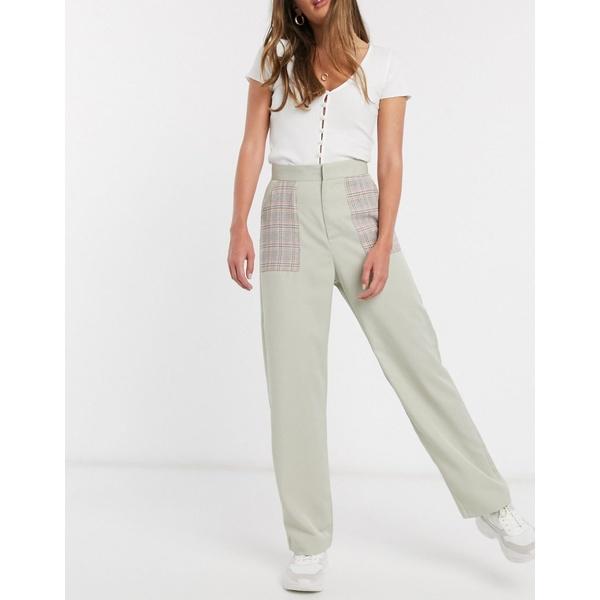 デイジーストリート レディース カジュアルパンツ ボトムス Daisy Street relaxed pants with contrast check pockets Sage