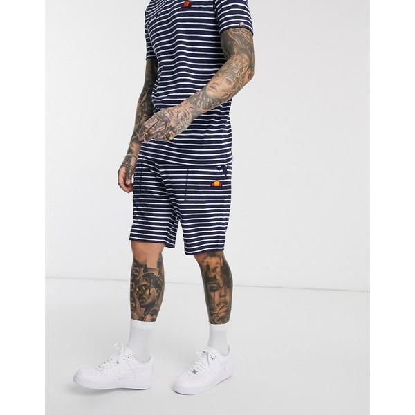 エレッセ メンズ カジュアルパンツ ボトムス ellesse Santori striped shorts in navy Navy