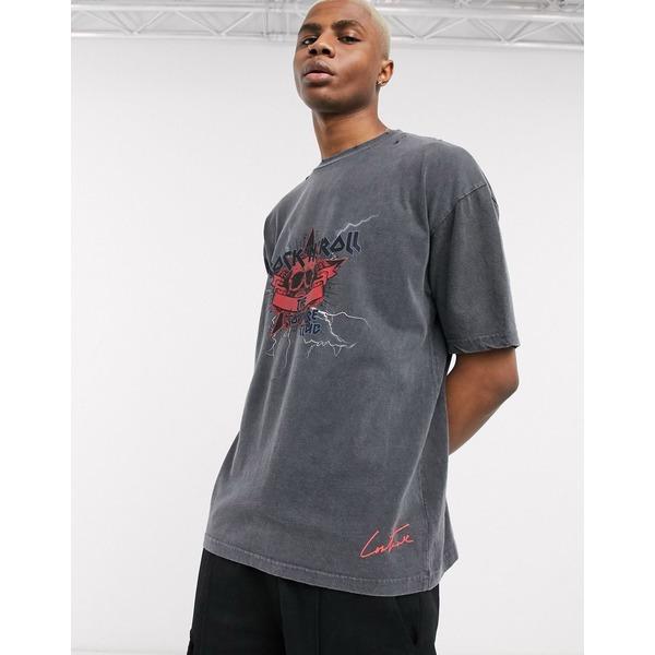 クチュールクラブ メンズ Tシャツ トップス The Couture Club oversized rock n roll graphic t-shirt in washed vintage black Black