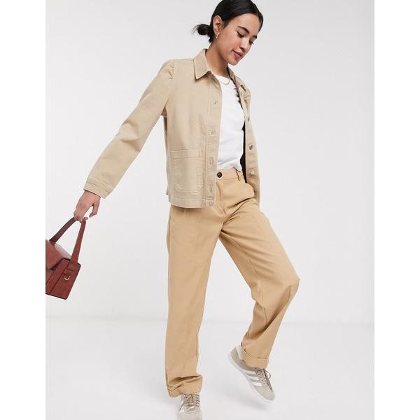 セレクティッド レディース ジャケット&ブルゾン アウター Selected Femme denim jacket with pocket detail In beige Beige