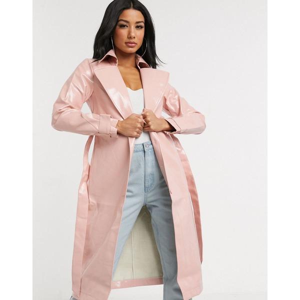 インザスタイル レディース ジャケット&ブルゾン アウター In The Style vinyl belted longline jacket in pink Pink