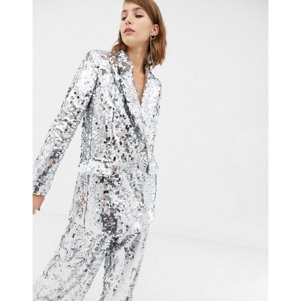 エイソス レディース ジャケット&ブルゾン アウター ASOS EDITION double breasted blazer in sequin Silver