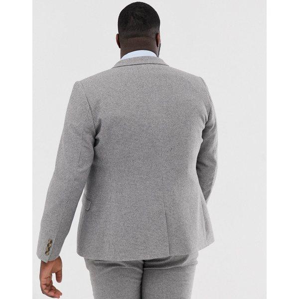 エイソス メンズ ジャケット&ブルゾン アウター ASOS DESIGN Plus wedding super skinny suit jacket in micro gray houndstooth Gray
