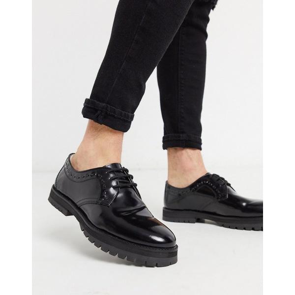 ハウスオブハウンデッド メンズ スニーカー シューズ House of Hounds creed derby shoes in black hi shine Black