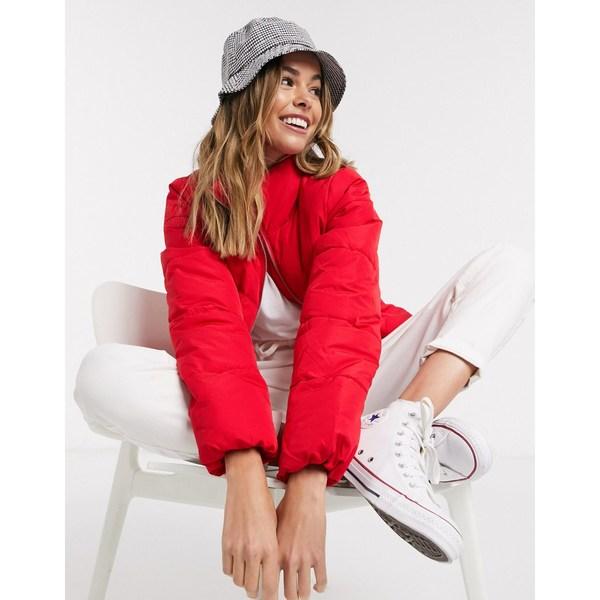 ジェイディーワイ レディース ジャケット&ブルゾン アウター JDY Erica funnel neck padded jacket in red Goji berry