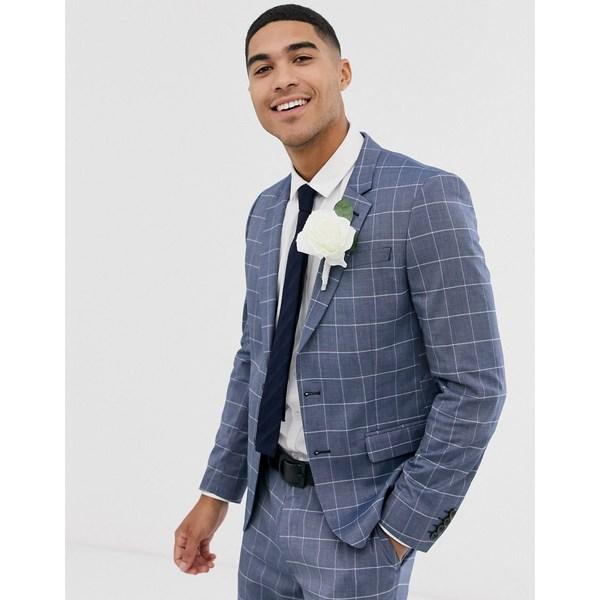 エイソス メンズ ジャケット&ブルゾン アウター ASOS DESIGN slim suit jacket in linen blue check Blue