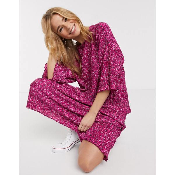 エイソス レディース Tシャツ トップス ASOS DESIGN pink ditsy print midi plisse oversized t-shirt dress in pink Pink ditsy