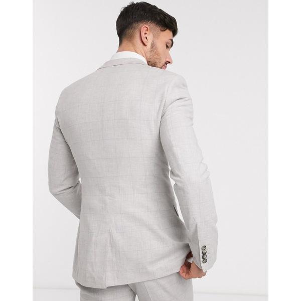 エイソス メンズ ジャケット&ブルゾン アウター ASOS DESIGN wedding super skinny suit jacket in stretch cotton linen in gray check Gray