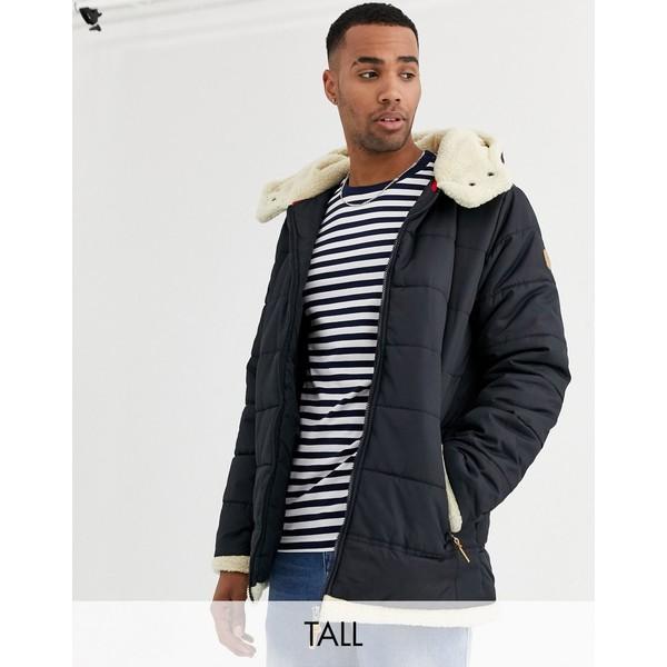 デューク メンズ ジャケット&ブルゾン アウター Duke tall puffer jacket with fleece lined hood in navy Navy