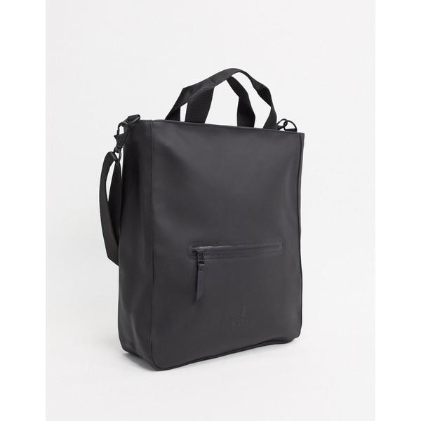 レインズ メンズ トートバッグ バッグ Rains 1339 waterproof tote crossbody bag in black Black