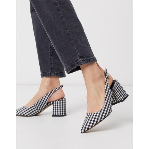 エイソス レディース ヒール シューズ ASOS DESIGN Sammy slingback mid heels in black and white gingham Blk/white gingham