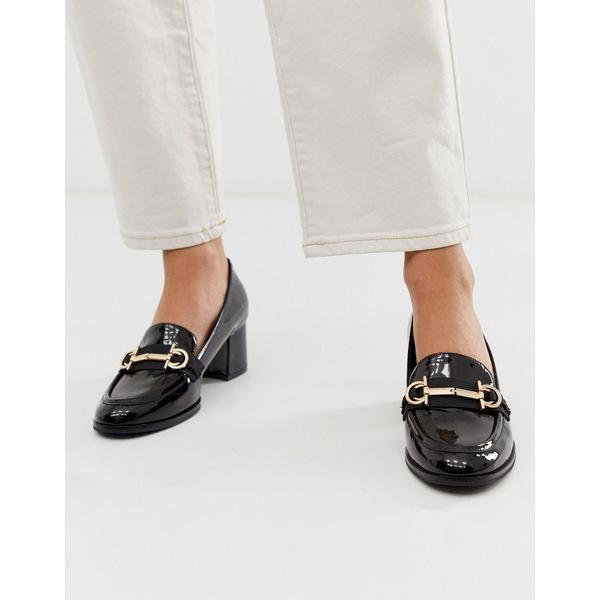 エイソス レディース ヒール シューズ ASOS DESIGN Stirrup mid-heeled loafers in black patent Black patent